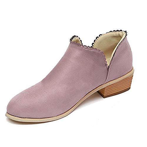 Talon Minetom Courtes Antidérapant Bloc Automne Rose Dentelle Chic Élégant À Boots Chelsea Bottines Chaussures Suède Bottes Femmes Ankle vArAOwI