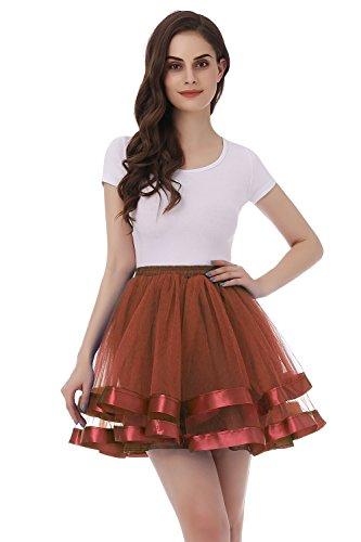 1950's Chocolate (Tsygirls Women's 1950s Hoopless Tutu Short Petticoat Skirt Crinoline Underskirt Slip Chocolate Size L-XL)