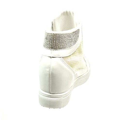 6 Sneaker Glänzende Angkorly Patent Keilabsatz Cm - Weiß Damen Schuhe 5 Strass