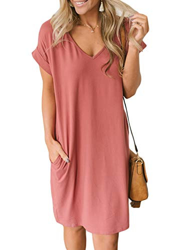 HOTAPEI Short Casual Summer Dresses for Women Plus Size with Sleeves Loose V-Neck Short Cuffed Sleeve T-Shirt Dress with Pockets Pink XX-Large