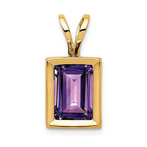 14k Yellow Gold 7x5mm Purple Amethyst Bezel Pendant Charm Necklace Gemstone Fine Jewelry Gifts For Women For Her