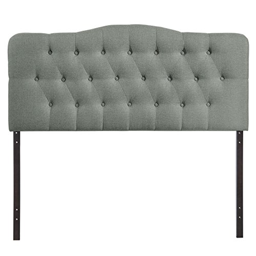 Modway Annabel Upholstered Tufted Button Fabric Headboard Queen Size In Gray by Modway (Image #2)