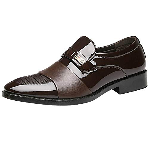 Patent Leather Shoes for Mens,Realdo Men Business Casual Leather Fashion Wedding Party Banquet Shoes(US 6.5,Brown)