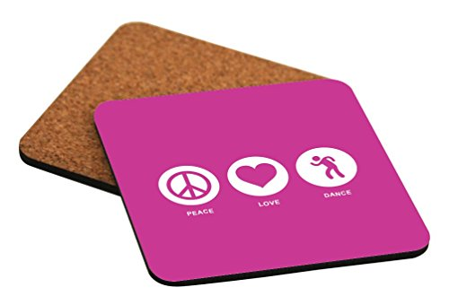 Rikki Knight Peace Love Dance Rose Pink Color Design Cork Backed Hard Square Beer Coasters, 4-Inch, Brown, 2-Pack by Rikki Knight