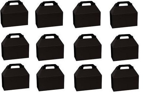 Party Favors 12 BOXES Gable Bag Loots Birthday BLACK