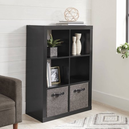 Better Homes and Gardens 6-Cube Organizer Solid Black with Shelf X Espresso