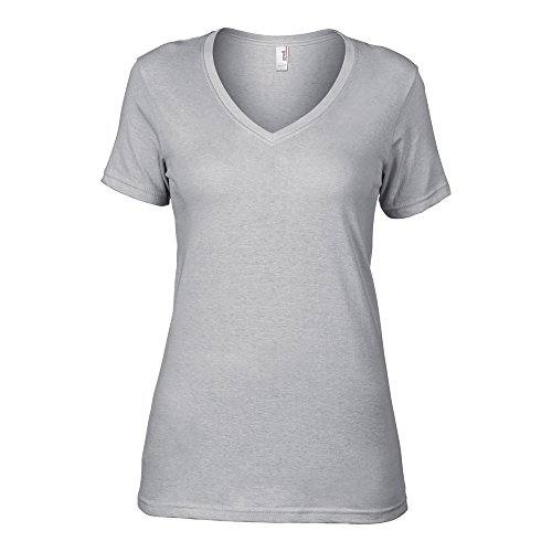 Anvil Ladies Sheer V Neck T-Shirt Silver