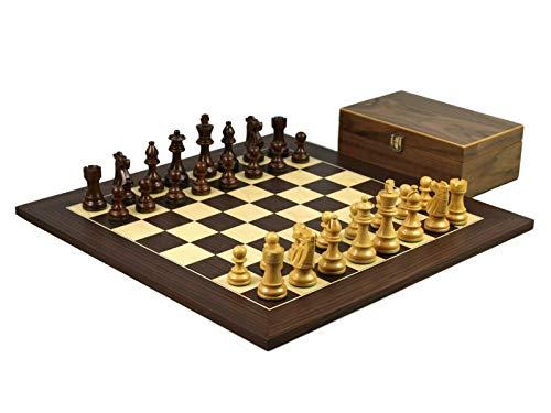 Wooden Chess Set Macassar Board 20″ Weighted Sheesham Staunton French Knight Pieces 3.75″