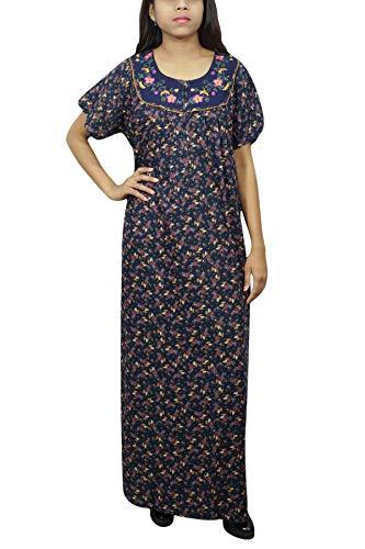 Indiatrendzs Womens Printed Nighty Smooth Cotton Dark Blue Nightdress XXL   Amazon.in  Clothing   Accessories d19751f7d