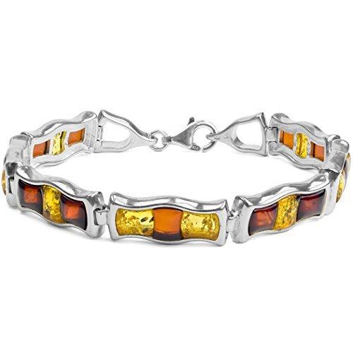 Noda bracelet de perles en argent 925 et ambres multicolores 18.5cm