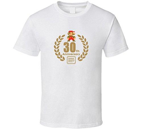 Super Mario Bros 30th Anniversary logo T Shirt - White 2XL White