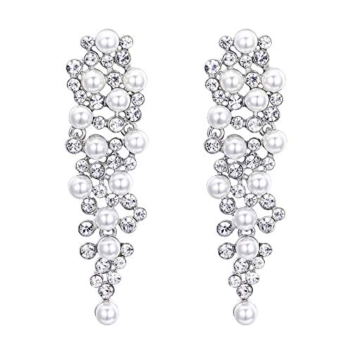 (BriLove Wedding Bridal Simulated Pearl Earrings for Women Crystal Multi Beaded Cluster Chandelier Dangle Earrings Clear Silver-Tone)