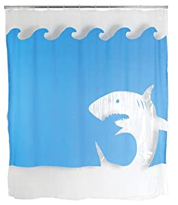 Good Kikkerland Jaws Shower Curtain, 72 Inch By 72 Inch