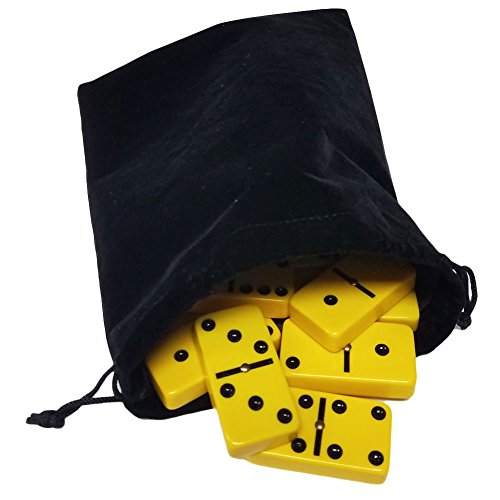 (Domino Double Six 6 Yellow Tiles Jumbo Tournament Professional Size with Spinners in Black Elegant Velvet Bag)