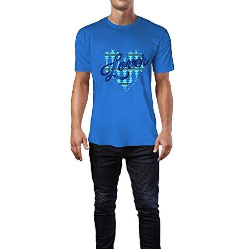 SINUS ART® Ethno Herz mit Aufschrift Lover Herren T-Shirts in Blau Fun Shirt mit tollen Aufdruck