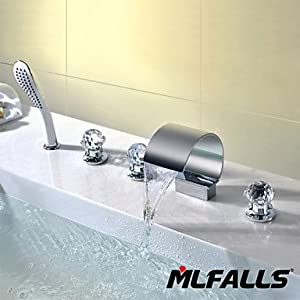 new W&P Contemporary chrome five-hole Crystal handle triple waterfall bath shower faucet