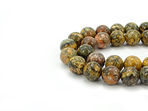 jennysun2010 Natural Leopard Skin Jasper Gemstone 8mm Smooth Round Loose 50pcs Beads 1 Strand for Bracelet Necklace Earrings Jewelry Making Crafts Design Healing ()
