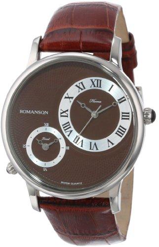Romanson Men's TL1212MM1WAB2W Classic Swiss Quartz Dual Time Zone Stainless Steel Watch