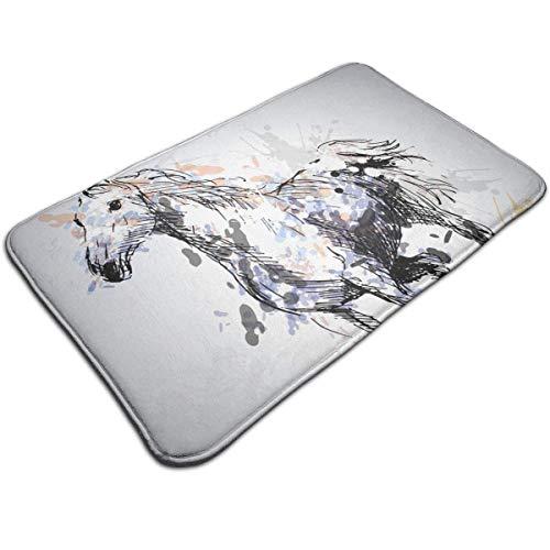 (Bizwheo Bath Mat- Funny Colored Horse Design, Non Slip Absorbs Soft Rug Carpet for Indoor Outdoor Patio-)