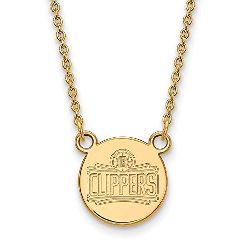 Roy Rose Jewelry 14K Yellow Gold NBA LogoArt Los Angeles Clippers Small Disc Pendant by Roy Rose Jewelry