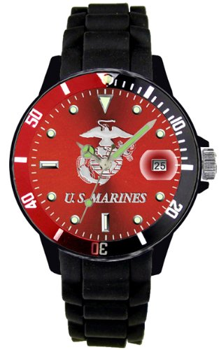 Aqua Force Marines Watch with 42mm Red Face and Red/Black Rotating Bezel by Aqua Force