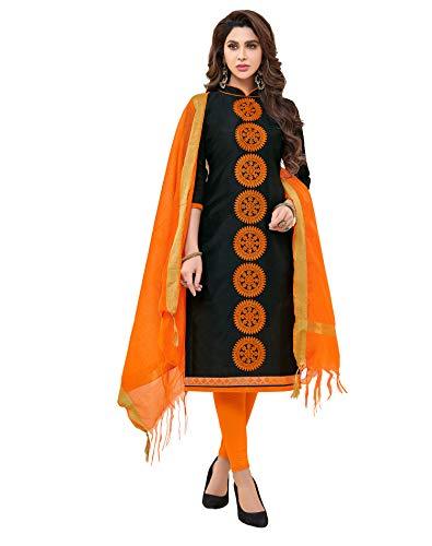 Viva N Diva Women's Modal Cotton Black Embroidered Dress Material with Banarasi Woven Dupatta Un-Stitched Salwar Suit,Free - Cotton Suit Salwar