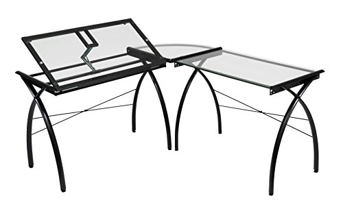 Studio Designs Futura LS WorkCenter with Tilt Top Adjustable Drafting Table Craft Table Drawing Desk Hobby Table Writing Desk Studio Desk, Black / Clear Glass (Hobby Center Studio Designs)