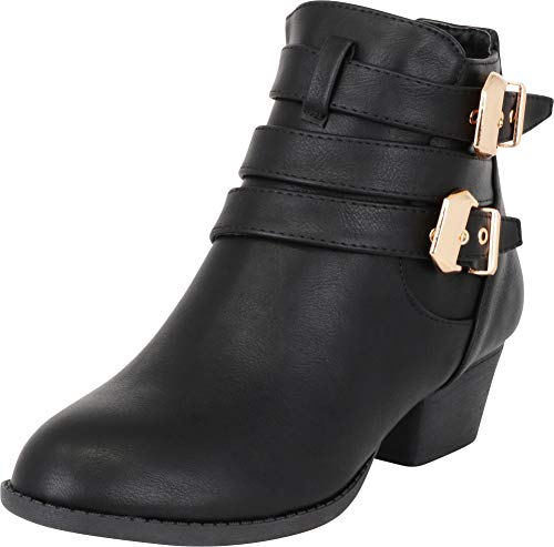 TOP Moda Women's Buckle Straps Stacked Low Chunky Heel Ankle Bootie Parker Boots Black 9 ()