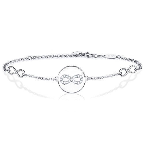 AmorAime 925 Sterling Silver Infinity Symbol Endless Love Cubic Zirconia Disc Bracelet Gifts for Women Girls by AmorAime (Image #6)
