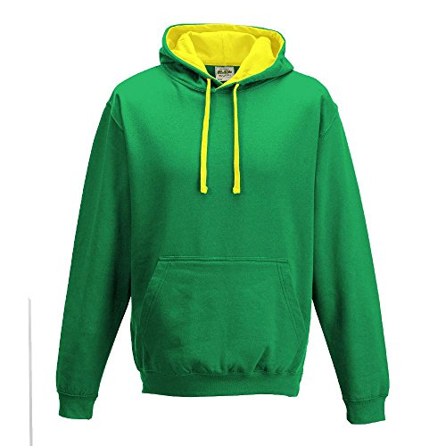 Just Hoods Varsity - Sudadera unisex con capucha, dos colores Kelly Green/Sun Yellow