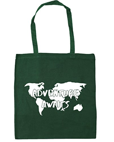 HippoWarehouse aventura aguarda Tote Compras Bolsa de playa 42cm x38cm, 10litros verde oscuro