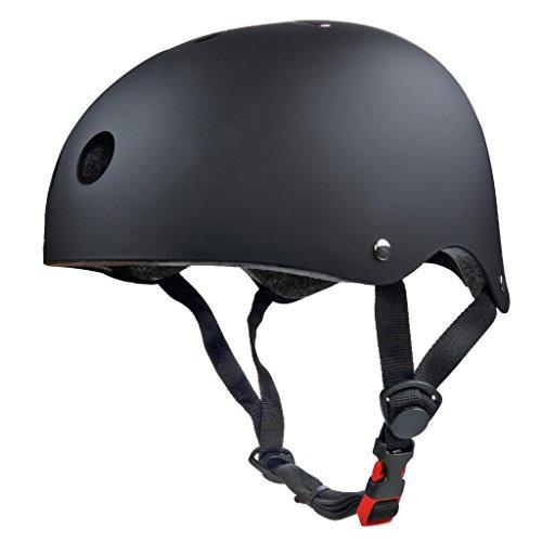 SymbolLife BMX / Skate / Motorroller Helm fahrradhelm motorroller helm Zyklus / Bike / Scooter / Skatehelm CE EN1078 TÜV Zulassungen 61 - 63cm Größe L Schwarz