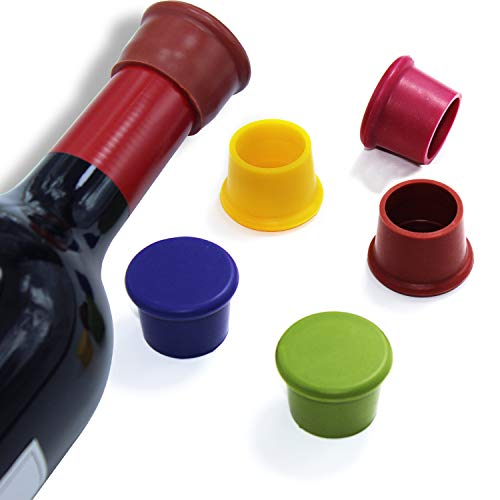 Silicone Wine Stoppers by GNAWRISHING 5Pcs Reusable Silicone Bottle Cap Made of Food Grade Silicone, BPA FREE, Good for Wine, Beer and Others Beverage Bottles (5 - Bottle Wine Cap