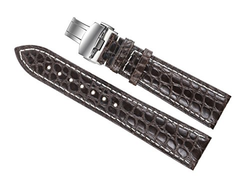 18mm Dark Brown Luxury Watch Straps/Bands Replacement Real Alligator Skin Leather Handmade with White Stitching