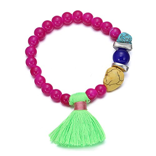 Young & Forever Women's Valentine Diwali Pink Beadaholoc Neon Green Tassel Bracelet by Young & Forever