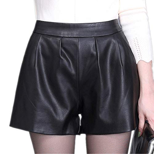 High Waist Women Plus Size Leather Shorts New Spring Fashion PU Leathe Mosaic Ladies Skinny Black Wide Leg Super Shorts Girls Black XXXL