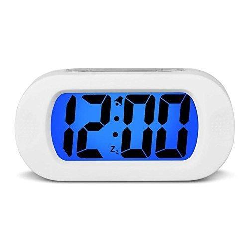 Hersent Large Digital Display Alarm Clock and Snooze Night Light(Green Backlight) Travel Alarm Clock and Home Bedside Alarm Clock Battery operated Shockproof HA30 (White)