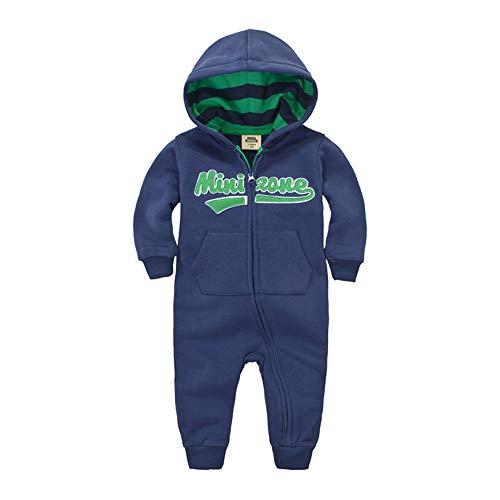 Teach Leanbh Unisex Baby Warm Fleece Romper Long Sleeve Hooded Zipper Embroidered Patch Jumpsuit Autumn Winter