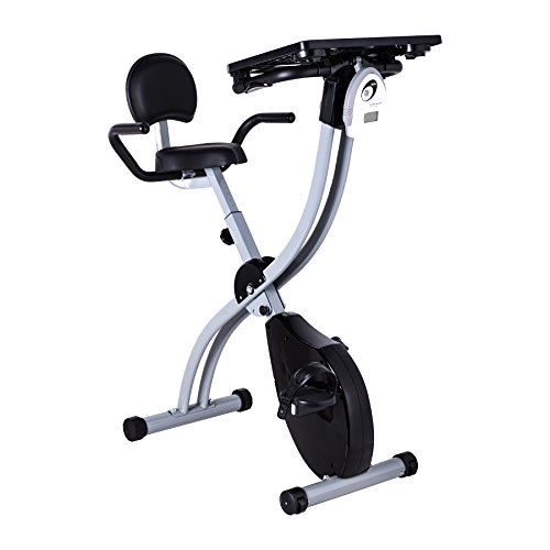 Pinty Adjustable Desk Exercise Bike Workstation with Tablet Holder and Standing Desk