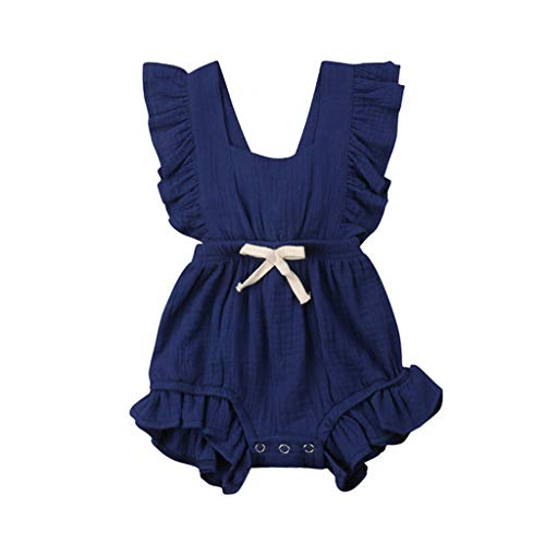 Top Clothes Blue Baby Onesie - WOCACHI Toddler Baby Girls Clothes, Newborn Infant Baby Girls Color Solid Ruffles Backcross Romper Bodysuit Outfits 2019 Spring Summer Under 5 Deals Allowance Campaign Dark Blue