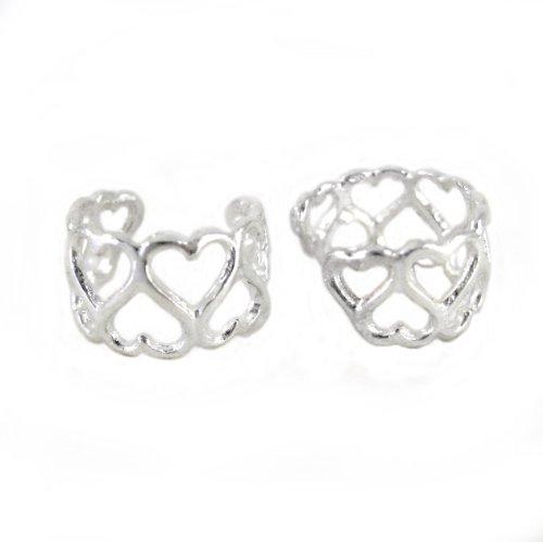 - Sterling Silver Open Hearts Ear Cuff Earring, One Piece