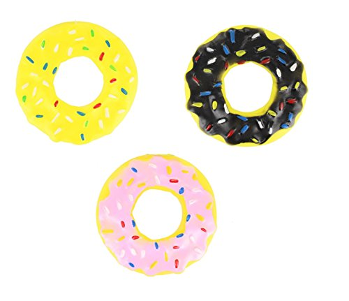 Chase n Chew Pack Of 3 Yellow, Pink & Black Squeaky Doughnut Dog/ Puppy Toy (Donut Dog Toy)
