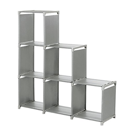 Storage Cube Organizer, Sincelee 3-tier Storage Cube Closet Organizer Shelf 6-cube Storage Cabinet Bookcase Space-Saving Cube Storage Unit (Grey)