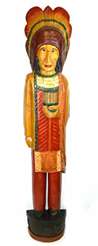 - 5 foot tall Giant Hand Carved Wooden Cigar Indian Statue Sculpture Carving Chief Cowboy Western Art