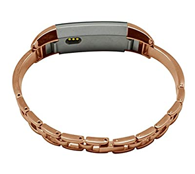 KingBaas Bands Compatible for Fitbit Alta Band, Classy Replacement Metal Watch Bracelet Band Compatible for Fitbit Alta,Silver Rose Gold (No Tracker)