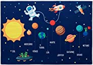 Tapete Joy Planetas 070X100Cm Azul/Colorido