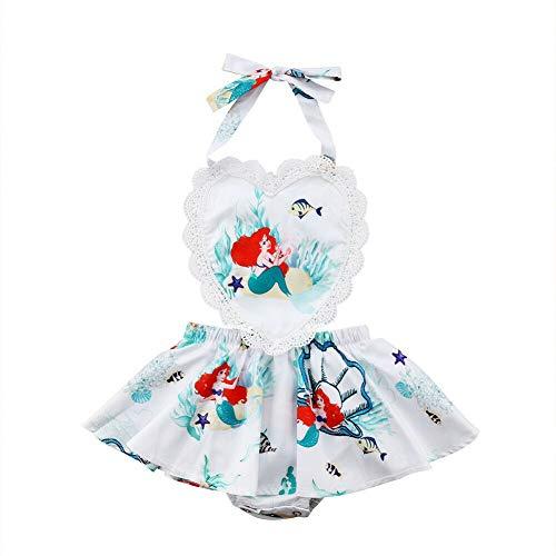 (Toddler Baby Kids Girls Mermaid Dress Strap Ruffle Sleeves Backless Summer Party Dress Beach Wear Sundress Skirt Outfit (0-6 Months, Mermaid Romper Tutu)