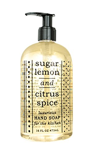 Greenwich Bay SUGAR LEMON CITRUS SPICE HAND SOAP FOR THE KITCHEN with Shea Butter, Cocoa Butter, Grapefruit and Lemon extracts to Wash Odors and Germs 16 oz