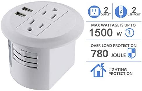 Power Grommet, Desktop Power Outlet 2 US Plugs 2 USB Ports for Computer, Desk Table, Kitchen, Office,Home,Hotel and More white