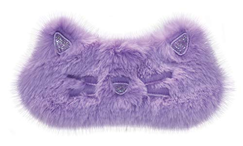 iscream Fun and Colorful Satin-Lined Embroidered Fur Sleeping Kitty Sleep Mask for ()